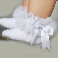 Wholesale Toddler Girls Lace Socks - NEW Baby girls tutu socks children breathable short ankle bow sock kids toddler cotton lace ruffle princess mesh socks 10pairs 20pieces