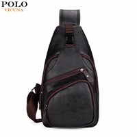 Wholesale Black Polo Large - VICUNA POLO Extra Large Size Fashion Mens Shoulder Bag Burglarproof Snapper Black Leather Mens Messenger Bag Travel Chest Bag