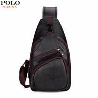 Wholesale Large Mens Messenger Bag - VICUNA POLO Extra Large Size Fashion Mens Shoulder Bag Burglarproof Snapper Black Leather Mens Messenger Bag Travel Chest Bag