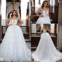 Wholesale Removable Tulle Skirt Black - Luxury New Arabic Style Overskirts Wedding Dresses 2017 Sheer Crew Neck Sexy See Though Back Lorenzorossi Bridal Gowns with Removable Skirt