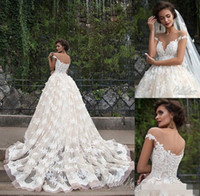 Wholesale Zuhair Murad Wedding Dress Short - 016 Retro Zuhair Murad Lace Wedding Dresses Illusion Boat Neck Short Sleeves A-line Floral Appliques Plus Size Chapel Train Bridal Gowns