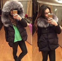 Wholesale Blue Fur Coat Hood Women - Women Large Faux Fur Collar Hooded Cotton Padded Jacket Winter Hooded Down Coat Fur Collar Outerwear