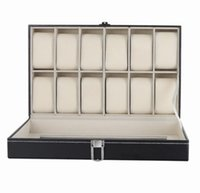 Wholesale Discount Wholesale Watches - Luxury Brand PU Leather Watch Display Box Double-layer 12 Grid Watch Case Jewelry Storage Organizer Discount Promotion gift Free DHL