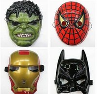 Wholesale Hulk Masks - Environmental Protection Material The Avengers Alliance Spider-Man Iron Man Halloween Carnival Mask Hulk Batman captain America 500pcs lot