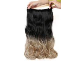 extensiones de cabello marrón oscuro clip ombre al por mayor-5 clips en extensiones de cabello paquetes de onda del cuerpo para mujer 2 tonos Ombre Color cabello negro natural a gris / gris oscuro / marrón