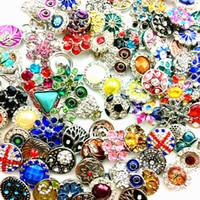 zencefil mücevher satışı kapar toptan satış-Toptan Toplu Sürü Karışık Stilleri 18mm Yapış Düğmeler Charm Chunk Zencefil Değiştirilebilir bakır alaşım Snaps Takı Yepyeni Sıcak Satış