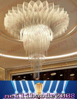 Wholesale Lamp Factory Stainless Steel - BE31 Factory Customized Round Hotel Lobby K9 Crystal Chandeliers Large Hotel Project Lights Department Villas Exhibition Hall Pendant Lamps