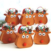 Wholesale Deers Decorations - Christmas Gift Bags Deer Bag for Children Merry Christmas Candy Bags Christmas Santa Claus Xmas Gifts Holders Party Decoration