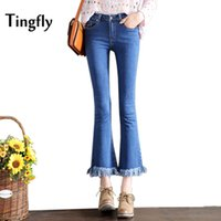 Tingfly Herbst Winter High Taille Flare Hosen Jeans Plus Size Tassel Stretch Skinny Jeans Frauen Wide Leg Slim Hip Denim Boot Cuts