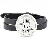 armbandkissen großhandel-30mm Edelstahl twisted-off ätherisches Öl Diffusor Wrap Armband Medaillon mit PU Lederband (freie Filz Pads)