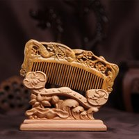Wholesale Small Black Combs - Genuine green sandalwood carving comb green plums magpie double comb health green small comb comb health massage comb