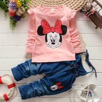 Wholesale Minnie Mouse Overall - Wholesale- 2016 new spring autumn children clothing set suit baby girls casual minnie mouse T-shirt + overalls jeans 2pcs kidsTracksuit set