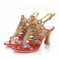 Wholesale Crystal Rhinestone High Sandals - new fashion crystal peacock rhinestone thick high heels gladiator sandals open toe hollow buckle summer pumps women shoes plus size 34-44