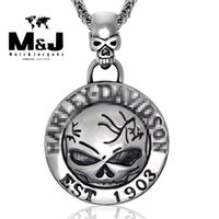 Wholesale Skeleton Necklaces - WITH RANDOM Gift Chain HD style Biker establish 1903 skull stainless steel pendant fine jewelry STP-5004