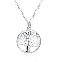 Wholesale Pendant Flower Life - Life Tree Pendant Necklace Fashion Exquisite Classic Silver Necklace 925 Sterling Silver Jewelry for Lady Wedding Party Engagement Accessory