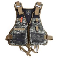 ingrosso giacche da salvataggio per adulti-All'ingrosso- Kayak Life Jacket Jacket Camouflage Swimming Life Vest per la pesca Vest Outdoor Water Sport Drifting Jacket Uomo Adulto con fischietto