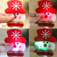 Wholesale Led Flash Badge - Free Shipping Christmas Gift LED Glowing Santa Snowman Elk Bear Glow Flashing Cartoon Brooch Badge Toy Christmas Luminous Decoration
