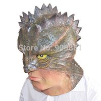 Wholesale Lizard Halloween Costume - Halloween Lizard-Man Latex Mask Full Face Simulation Animal Rubber Masks Masquerade Party Costume Cosplay Props Adult Size