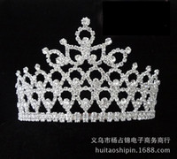 Wholesale Large Silk Roses - New Gorgeous Sparkling Crystal Miss Universe Pageant Tiaras Large Crowns Clear Rhinestone Headpiece Wedding Bridal Prom Party Costum