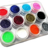 Wholesale Nail Art Mixed Glitter - Acrylic Powder 12 Mix Color Set Nail Art Glitter Powder Dust For Uv Gel Acrylic Decoration Tips Nail Dipping System Pearl Glitter