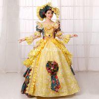 vestidos victorianos amarillos al por mayor-A estrenar Amarillo Floral Europa Sur Belle Vestido de fiesta de noche Medieval Renacimiento Marie Antonieta Rococó Vestido victoriano