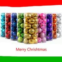 boules en plastique couleurs achat en gros de-Boule de décorations pour sapin de Noël 24pcs / Set Boule de placage brillant 4cm 10 couleurs Boule de décorations en plastique Ball Joyeux Noël avec lanière
