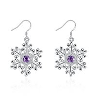 Mulheres 925 Sterling Silver Snow Pattern Dangle Brincos Coréia Lady Fashion Classic Brincos Brinco Inlaid Zircon Female Ear Hook Wholesale