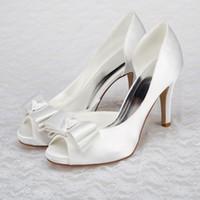 Wholesale Satin Black Peep Toe Platforms - Cheap Peep Toe High Heels Wedding Shoes Bow Satin Bridal Shoes Sandals Platform Women Prom Heels Shoes Pumps White Ivory Bridesmaid Shoes