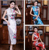 Wholesale white satin pencil skirt - BLACK WHITE RED Blue Chinese Silk Satin Women's Dress Long Cheongsam Qipao Coat Skirt evening dress Bridal gown size S-3XL