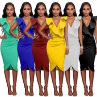Wholesale buttocks size - 20pcs Plus Size Limited Coyote Valley Free Shipping 2017 Sexy Sleeveless V-neck Falbala Package Buttocks Dress Wholesale AP69