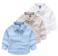 Wholesale Kids Collar Shirts Design - White pure shirt three colors blue khaki kindergarden kids shirts front chest with two pockets design exquisite neat