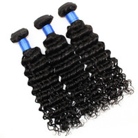 Wholesale European Hair Extentions - Brazilian Hair 3 Bundles Brazilian Deep Curly Hair Natural Color Black 1B Unprocessed Human Hair Extentions 8-30 Inch Free Shipping