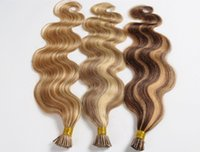 Wholesale Wavy Ombre I Tip Extensions - AAAAA Body Wavy 1g*200s 10-28'' Stick I Tip Prebonded Black Brown Blonde Mixed Ombre Color 100% Indian Remy Human Hair Extensions
