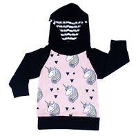 Wholesale Wholesale Hot Pink Cotton Hoodies - Girls Horse Print Hoodie Sweatshirts 2017 Fall Euro America Hot Sale Kids Boutique Clothing Little Girls Long Sleeves Raglan Hooded Tops