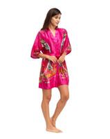 Wholesale Vintage Wedding Kimono - Wholesale-Hot Pink Vintage Chinese Bridesmaid Wedding Robe Women Sexy Silk Sleepwear Printed Kimono Gown Plus Size S M L XL XXL XXXL A-063