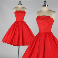 Wholesale Online Sexy Girls - Red Party Dresses 2016 Strapless Beaded A Line Tulle Short Cocktail Gowns Mini Cheap Online Homecoming Dress For Girls