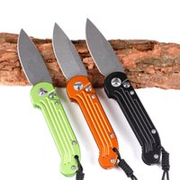 Wholesale Knife Horizontal - OEM microtech LUDT tricolor fast open knife Horizontal opening single action D2 blade Hunting Folding Pocket Knife Xmas gift for men 1pcs