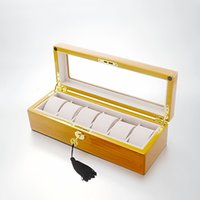 Wholesale Watch Piano - Muliple layers of high-gloss piano lacquer finish 6 Grid Wooden Watch Box Jewelry Display Case Watch Storage Organizer Box Holder 06MW