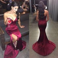 Wholesale Imitation Lavender - Elegant Dresses 2016 Custom Made Evening Dresses Celebrity Gowns Sweetheart Neckline Sleeveless Formal Wear with High Split Imitation Silk