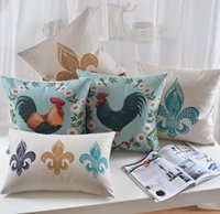 Wholesale Cock Case - Free shipping novelty gift cock rooster flower European iron art pattern linen Cushion Cover home car cafe decorative throw pillow Case