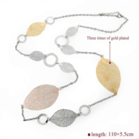 Wholesale Leaves Coins Necklace - LongWay Fashion Chain Long Necklace For Women Wedding 18K Gold Plated Leaves High Quality Statement Jewelry Sne150846103