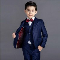 Wholesale Prom Suits Boys - 2016 new arrival fashion baby boys kids blazers boy suit for weddings prom formal black navy blue dress wedding boy suits