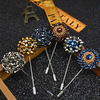 Wholesale Wholesale Floral Lapel Pins - Fashion Daisy Flower Lapel Pins, Beaded Floral Men Lapel Pin, Crystal Men Brooch for Suits Handmade Stick Brooch Pins 15 Colors