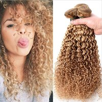 Wholesale Strawberry Blonde Weave - 9A Kinky Curly Mongolian Hair 3PCS Honey Blonde Curly Hair Extensions Blonde #27 Strawberry Blonde Human Hair Weave Weft 3 Bundles Lot