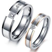 Wholesale Shiny Stainless Steel Rings - JEWELRY 316L Stainless Steel Rings My Love Circle Shiny Crystal Wedding Rings Fashion Women Men Jewelry 351