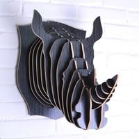 Wholesale Handicraft Wall Decoration - Nordic Scandinavian animal rhino head,fashion wall decoration,European wooden decorative handicrafts,DIY pastoral wall hanging