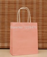 Wholesale Paper Bags Pink Handles - Wholesale-DIY Multifunction soft pink Kraft paper gift bag  18x15x8cm   S size packing bags  Christmas gifts bag with handle High Quality