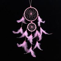 schwarze glockenspiele großhandel-Dreamcatcher Wind Chimes rosa Feder Spitze Dream Catcher Circular Windbell handgemachte hängende Dekor Ornament Handwerk Geschenk 9 8lz F R