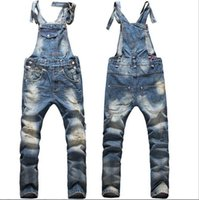 Wholesale Boys Bib Overalls - New Fashion Big Boys Mens Ripped Denim Bib Overalls Large Size Rompers Men's Distressed Long Jean Jumpsuit Jeans Pants For Men Work