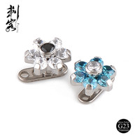 Wholesale Titanium Dermal Anchors - Titanium Internally Threaded Clear and Blue Flower Micro Dermal Anchor Jewelry Body Piercing Free Shipping Wholesale